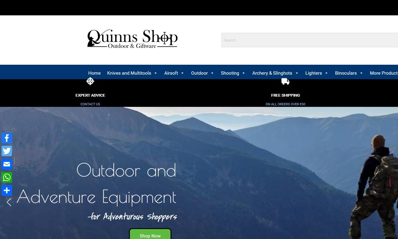 Quinns Shop - WriteinSite e-Commerce Design and Social Media Management